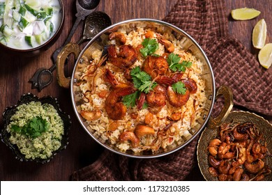 Tasty and delicious prawns biryani beautifully arranged