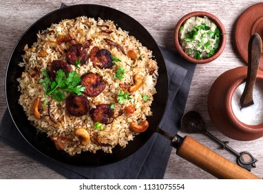 Tasty and delicious prawns biryani top view