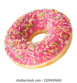 Tasty Donut dessert with frosted coral color glaze and colorful sprinkles isolated on white background. Sweet food concept with one round pink doughnut cake for your design and print.