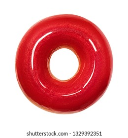 Tasty Donut dessert with glossy red glaze, top view isolated on white background. Sweet food concept with one round red glossy doughnut cake for your design and print. Donut Front View.