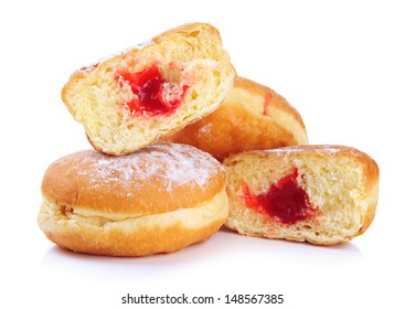 Tasty donuts with jam isolated on white