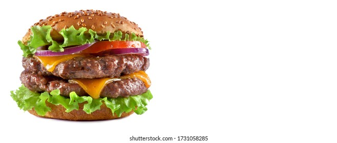 tasty  double cheese Burger isolated on white background
