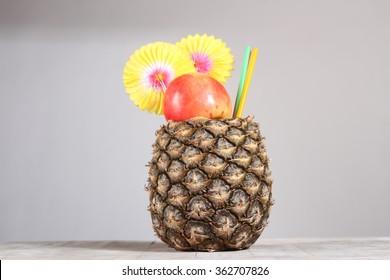 Tasty drink in pineapple