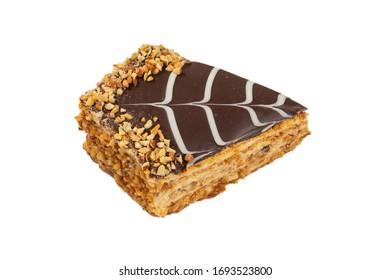Tasty esterhazy cake isolated on white. Top view.
