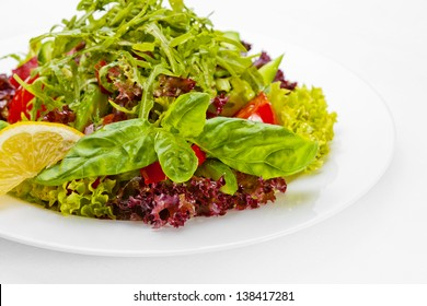 A Tasty food .Vegetable salad  over white background. High quality image