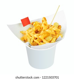 Tasty french fries in white cup with cheese sauce isolated on white background. Deep fry potato or appetizer. ( Clipping path )