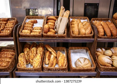 Tasty fresh bakery products in supermarket