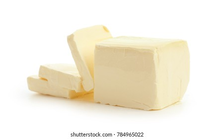 Tasty fresh butter on white background