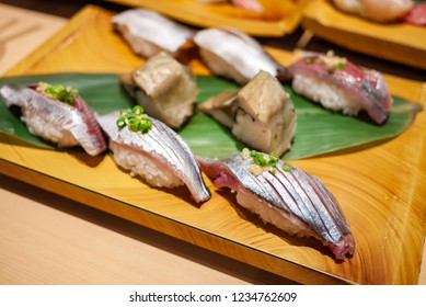 Tasty, fresh and delicious Aji Sushi or Horse mackerel fish. Sushi is popular Japanese food. Nigiri Sushi is sashimi or sliced raw fish on top of vinegared rice. Healthy eating and eat well concept