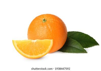 Tasty fresh ripe oranges on white background