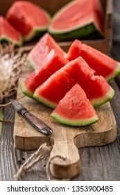 Tasty and fresh watermelon in summer garden