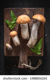 Tasty and fresh wild mushrooms on wooden board