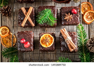 Tasty Gingerbread cubes for Christmas with chocolate glaze
