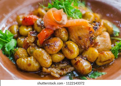 Tasty gnocchi with salmon