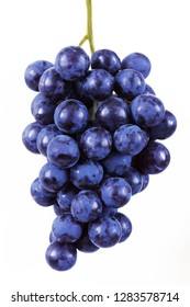 tasty grapes branch closeup isolated on white background