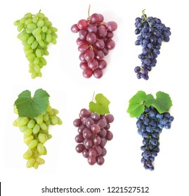 tasty grapes branch isolated on white background set