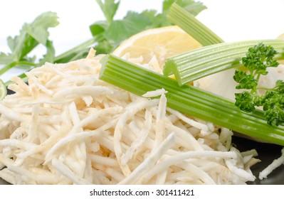 Tasty grated celery, closeup