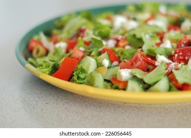 Tasty Greek Salad with feta and tomato