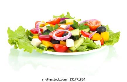 Tasty Greek salad isolated on white