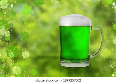 Tasty green beer on color background, space for text. St. Patrick's Day celebration