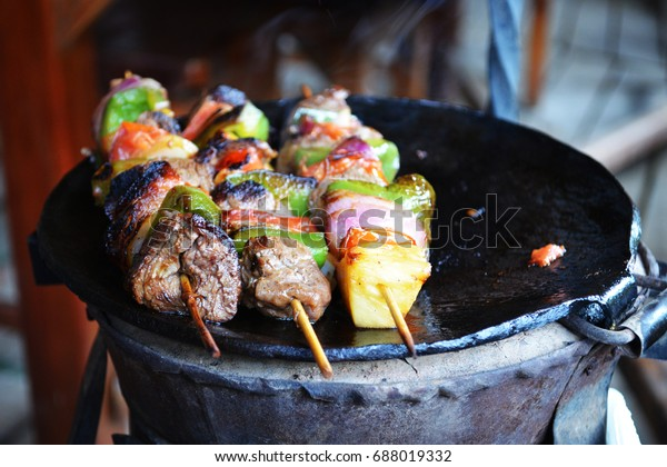 Tasty grilled meal in a traditional Kenyan restaurant