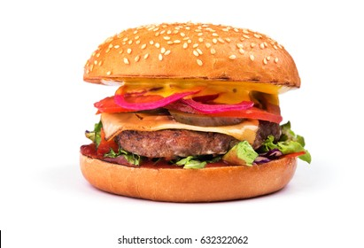 tasty hamburger with cutlet, tomato and cheese isolated on white background