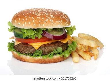 Tasty hamburger and french fries isolated on white