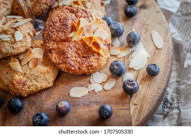 Tasty, healthy breakfast in the morning. Oatmeal cookies with blueberries and nuts. Delicious cookies for the diet.