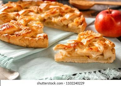 Tasty homemade apple pie on napkin