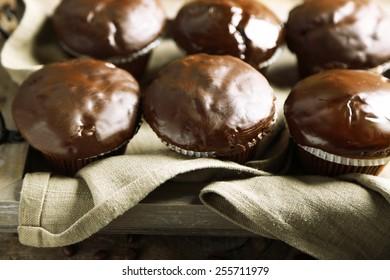 Tasty homemade chocolate muffins, close up