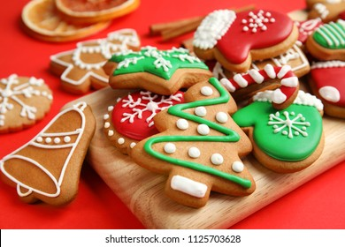 Tasty homemade Christmas cookies, closeup