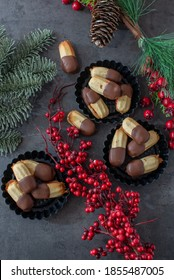 Tasty homemade Christmas cookies on wooden tray. Traditional Austrian christmas cookies