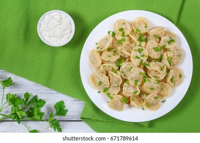 tasty homemade meat dumplings of wholemeal flour or russian pelmeni sprinkled with fresh parsley on white plate on table mat with sour cream in gravy boat, view from above