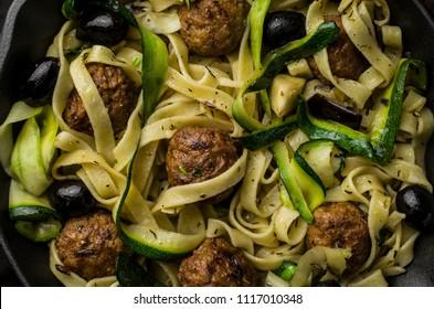 Tasty homemade pasta with meatballs
