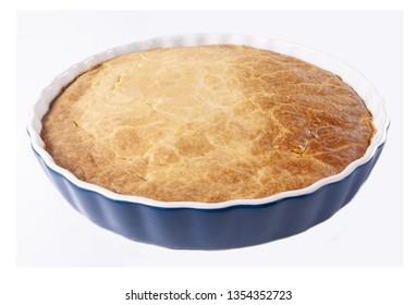 Tasty homemade shepherd's pie on white background