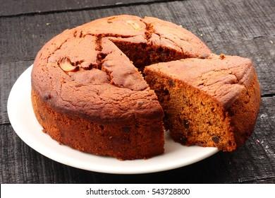 Tasty homemade traditional fruit cake,