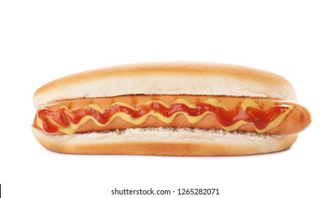 Tasty hot dog with ketchup and mustard on white background