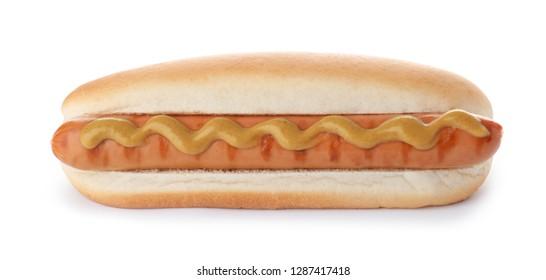 Tasty hot dog with mustard on white background