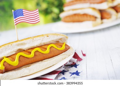 A tasty hot dog with mustard on an outdoor table.