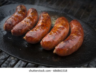 Tasty and hot grilled sausages