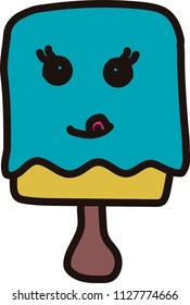Tasty ice cream with tongue licking kawaii style