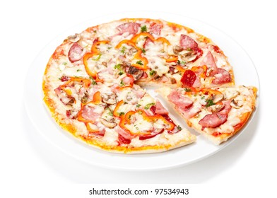Tasty Italian Pepperoni pizza. Isolated on white