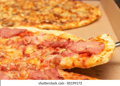 Tasty italian thin crust pizza with bacon and mozzarella cheese