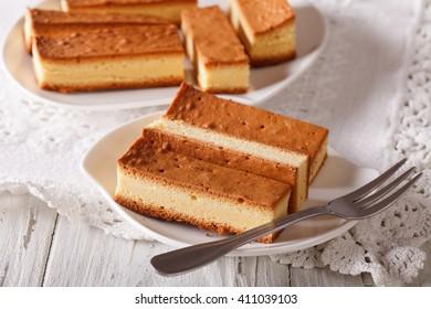 tasty Japanese cake kasutera close-up on a plate on the table. horizontal