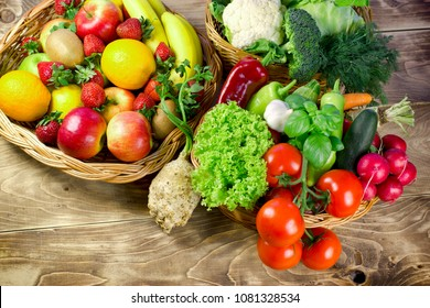 Tasty and juicy organic fruit and vegetable in our healthy diet - healthy food is represented in healthy eating