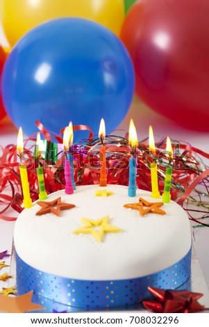 Tasty Kids Birthday Cake Balloons Background Stock Photo Edit Now