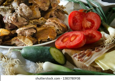 Tasty Lamb with salad of tomato, cucumber and onion ( Selective focus and smail depth of field)