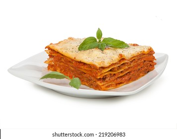 Tasty lasagna isolated on plate