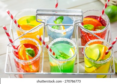 Tasty lemonade with lemon and orange