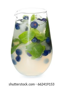 Tasty lemonade with mint and blueberries on white background